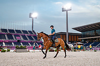 AUS-Kevin McNab and Don Quidam with Andrew Hoy and Vasilly de Lassos. The Australian Equestrian Team - Eventing, do their evening familiarisations prior to competition at the Equestrian Park. Tokyo 2020 Olympic Games. Monday 26 July 2021. Copyright Photo: Libby Law Photography