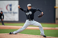Lansing Lugnuts starting pitcher Andy Ravel (26) delivers a pitch during a game against the Clinton LumberKings on May 9, 2017 at Ashford University Field in Clinton, Iowa.  Lansing defeated Clinton 11-6.  (Mike Janes/Four Seam Images)