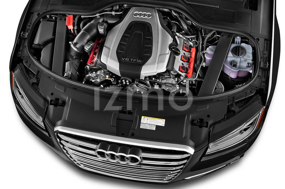 Car stock 2017 Audi A8 3.0T LWB quattro tiptronic 4 Door Sedan engine high angle detail view