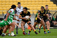 Charlene Gubb of the Wellington is tackled during the Farah Palmer Cup Rugby – Wellington v Manawatu at Sky Stadium, Wellington, New Zealand on Friday 25 September 2020. <br /> Photo by Masanori Udagawa. <br /> www.photowellington.photoshelter.com