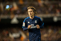 VALENCIA, SPAIN - JANUARY 3: Modric during BBVA LEAGUE match between Valencia C.F. and Real Madrid at Mestalla Stadium on January 3, 2015 in Valencia, Spain