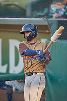 Micah Bello (8) of the Rocky Mountain Vibes on deck against the Ogden Raptors at Lindquist Field on July 6, 2019 in Ogden, Utah. The Vibes defeated the Raptors 7-2. (Stephen Smith/Four Seam Images)