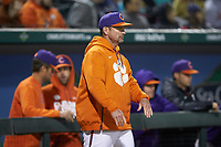 Clemson Tigers head coach Monte Lee during the game against the Charlotte 49ers at BB&T BallPark on March 26, 2019 in Charlotte, North Carolina. The Tigers defeated the 49ers 8-5. (Brian Westerholt/Four Seam Images)