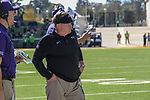 TCU head coach, Gary Patterson, in action during the game between the TCU Horned Frogs and the Baylor Bears at the McLane Stadium in Waco, Texas.