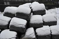 Snow on big bales of silage...Copyright..John Eveson, Dinkling Green Farm, Whitewell, Clitheroe, Lancashire. BB7 3BN.01995 61280. 07973 482705.j.r.eveson@btinternet.com.www.johneveson.com