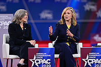 National Harbor, MD - February 27, 2020:  Rep. Joni Ernst (left) and Rep. Masha Blackburn (c) participate in a discussion about socialism, moderated by Katie Pavlich, during CPAC 2020 hosted by the American Conservative Union at the Gaylord National Resort at National Harbor, MD February 27, 2020.  (Photo by Don Baxter/Media Images International)