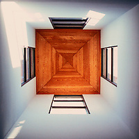 Michael Graves: San Juan Capistrano Public Library. Cupola, Interior, looking up.  Photo '86.