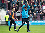 St Johnstone v Hearts…29.09.18…   Tynecastle     SPFL<br />Tommy Wright applauds the travelling saints fans<br />Picture by Graeme Hart. <br />Copyright Perthshire Picture Agency<br />Tel: 01738 623350  Mobile: 07990 594431