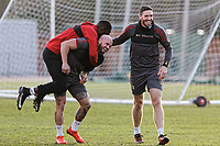 Pictured: Players play about during training. Thursday 18 January 2018<br /> Re: Players and staff of Newport County Football Club prepare at Newport Stadium, for their FA Cup game against Tottenham Hotspur in Wales, UK