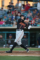 Braden Bishop (7) of the Modesto Nuts bats against the Lancaster JetHawks at The Hanger on May 11, 2017 in Lancaster, California. Lancaster defeated Modesto, 6-0. (Larry Goren/Four Seam Images)