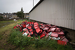Clitheroe 0 Consett 1, 20/08/2016. Shawbridge, Northern Premier League Division One North. Discarded plastic seats lying behind the main stand, pictured before Clitheroe played Consett at Shawbridge in an FA Cup preliminary round tie. Northern Premier League division one north team Clitheroe were formed in 1877 and have played at the same ground since 1925. Visitors Consett, from the Northern League division one, won the match 1-0, watched by 207 spectators. Photo by Colin McPherson.
