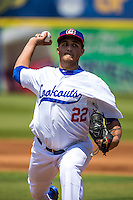 D.J. Baxendale (22) of the Chattanooga Lookouts pitches during a game between the Jackson Generals and Chattanooga Lookouts at AT&T Field on May 10, 2015 in Chattanooga, Tennessee. (Brace Hemmelgarn/Four Seam Images)