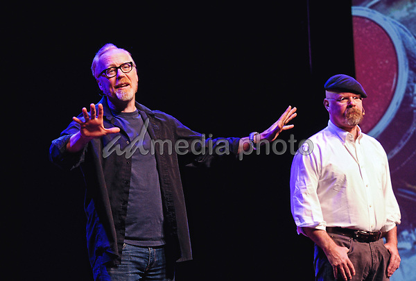 """14 July 2020 - Adam Savage, former co-host of the television series 'MythBusters' shared a tribute to his colleague Grant Imahara who died suddenly at the age of 49.  Savage posted his reaction to Imahara's passing on Twitter praising his friend as a """"brilliant engineer, artist and friend"""".  File Photo: MythBusters: Behind the Myths Tour 2015, FirstOntario Concert Hall, Hamilton, Ontario, Canada. Photo Credit: Brent Perniac/AdMedia"""