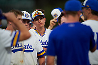 South Dakota State Jackrabbits pitcher Bryce Johnson (5) after a game against the Northeastern Huskies on February 23, 2019 at North Charlotte Regional Park in Port Charlotte, Florida.  Northeastern defeated South Dakota State 12-9.  (Mike Janes/Four Seam Images)