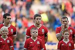 Adam Matthews (middle) wins his first cap for his country..Wales v Norway Vauxhall international friendly match at the Cardiff City Stadium in South Wales..Editorial use only.
