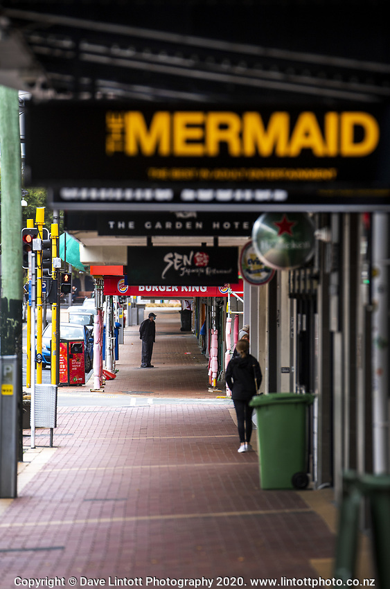 Courtenay Place. Wellington CBD at 2pm, Monday during lockdown for the COVID19 pandemic in Wellington, New Zealand on Monday, 27 April 2020. Photo: Dave Lintott / lintottphoto.co.nz