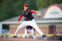 Batavia Muckdogs starting pitcher Alejandro Mateo (37) delivers a pitch during a game against the Auburn Doubledays on June 19, 2017 at Dwyer Stadium in Batavia, New York.  Batavia defeated Auburn 8-2 in both teams opening game of the season.  (Mike Janes/Four Seam Images)