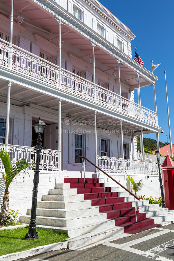 Charlotte Amalie, St. Thomas, U.S. Virgin Islands.  Government House, Governor's Offices, Neoclassical Architectural Style.