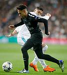 Real Madrid's Carlos Henrique Casemiro (b) and Paris Saint-Germain's Neymar Jr during Champions League Round of 16 1st leg match. February 14,2018. (ALTERPHOTOS/Acero)
