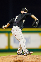 Starting pitcher Austin Stadler #9 of the Wake Forest Demon Deacons in action against the LSU Tigers at Alex Box Stadium on February 18, 2011 in Baton Rouge, Louisiana.  The Tigers defeated the Demon Deacons 15-4.  Photo by Brian Westerholt / Four Seam Images