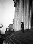 Washington DC:  Sarah Stewart on the steps of the United States Capital - 1912. Brady and Sarah Stewart sightseeing in Washington DC while on their honeymoon.