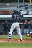 Antonio Cabello (22) of the Pulaski Yankees at bat against the Burlington Royals at Burlington Athletic Stadium on August 25, 2019 in Burlington, North Carolina. The Yankees defeated the Royals 3-0. (Brian Westerholt/Four Seam Images)