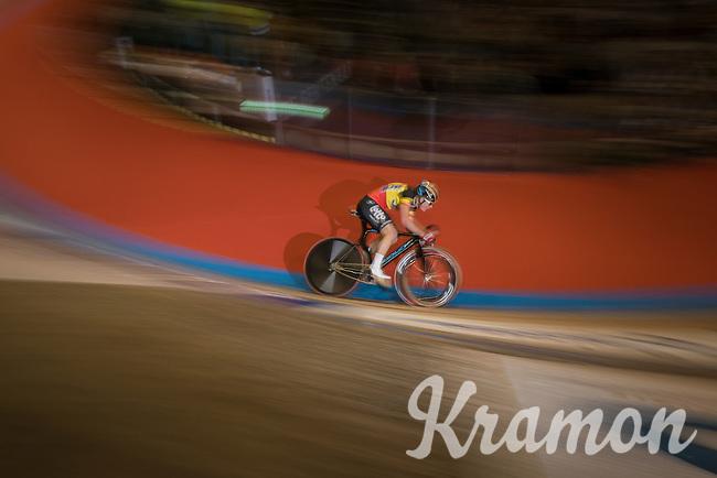 Lotte Kopecky (BEL)  speeding ahead during the women's race<br /> <br /> 2016 Gent 6<br /> day 5