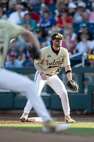 Vanderbilt Commodores first baseman Julian Infante (22) on defense during Game 12 of the NCAA College World Series against the Louisville Cardinals on June 21, 2019 at TD Ameritrade Park in Omaha, Nebraska. Vanderbilt defeated Louisville 3-2. (Andrew Woolley/Four Seam Images)