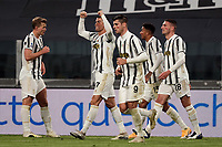 Cristiano Ronaldo of Juventus FC celebrates with team mates after scoring a goal during the Serie A football match between Juventus FC and Cagliari Calcio at Allianz stadium in Torino (Italy), November21th, 2020. Photo Federico Tardito / Insidefoto