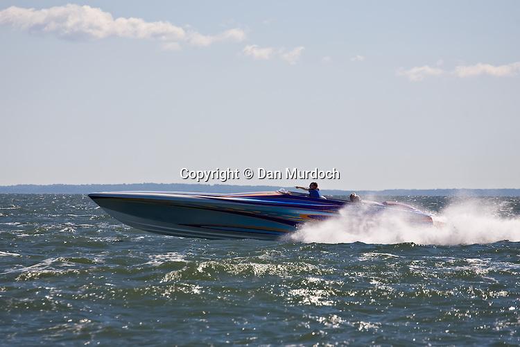 Cigarette speedboat going fast
