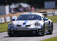 9th July 2021;  Goodwood  House, Chichester, England; Goodwood Festival of Speed; Day Two; Harry King drives a Porsche 911 GT3 Cup in the Goodwood Hill Climb
