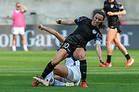 BRIDGEVIEW, IL - JULY 18: Vanessa DiBernardo #10 of the Chicago Red Stars and Sofia Huerta #11 of the OL Reign battle for the ball during a game between OL Reign and Chicago Red Stars at SeatGeek Stadium on July 18, 2021 in Bridgeview, Illinois.