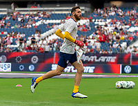 NASHVILLE, TN - SEPTEMBER 5: Matt Turner #1 of the United States runs onto the field during a game between Canada and USMNT at Nissan Stadium on September 5, 2021 in Nashville, Tennessee.