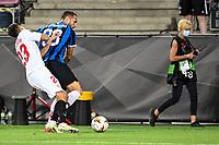 21st August 2020, Rheinenergiestadion, Cologne, Germany; Europa League Cup final Sevilla versus Inter Milan;  Sevillas Sergio Reguilon and Milan's Danilo D'Ambrosio challenge for the ball.