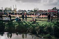 CX World Champion Wout Van Aert (BEL/Crélan-Charles) bunnyhopping at recon<br /> <br /> Super Prestige Ruddervoorde / Belgium 2017