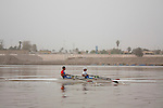 BAGHDAD, IRAQ: Two rowers on the Iraqi olympic team practice on the Tigris...Despite dangers like kidnappings, bombs, and assassinations, Iraq's olympic rowing team prepares for the London 2012 Summer Olympics...Photo by Ali Arkady/Metrography