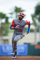 Dominican Republican right fielder Jose Bautista (19) running the bases runs the bases during a Spring Training exhibition game against the Baltimore Orioles on March 7, 2017 at Ed Smith Stadium in Sarasota, Florida.  Baltimore defeated the Dominican Republic 5-4.  (Mike Janes/Four Seam Images)