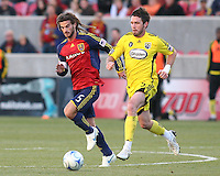 Real Salt Lake Midfielder Kyle Beckerman (5) and Columbus Crew Midfielder Danny O'Rourke (5) in the Real Salt Lake 1-0 win over Columbus Crew in Game 1 of the Semi-Finals of the MLS Playoffs on October 31, 2009 at  Rio Tinto Stadium in Sandy, Utah