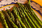 Cooked Asparagus on a plate, select focus