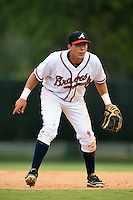 GCL Braves third baseman Franklin Azuaje (46) during a game against the GCL Blue Jays on June 27, 2014 at the ESPN Wide World of Sports in Orlando, Florida.  GCL Braves defeated GCL Blue Jays 10-9.  (Mike Janes/Four Seam Images)