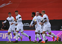 31st October 2020; Vitality Stadium, Bournemouth, Dorset, England; English Football League Championship Football, Bournemouth Athletic versus Derby County; GraemeShinnie of Derby County celebrates with his team after scoring in 14th minute 0-1