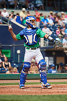 Hartford Yard Goats catcher Dom Nunez (9) throws back to the pitcher during a game against the Trenton Thunder on August 26, 2018 at Dunkin' Donuts Park in Hartford, Connecticut.  Trenton defeated Hartford 8-3.  (Mike Janes/Four Seam Images)