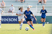 CARY, NC - SEPTEMBER 12: Rocky Rodriguez #11 of the Portland Thorns pursues Denise O'Sullivan #8 of the NC Courage during a game between Portland Thorns FC and North Carolina Courage at WakeMed Soccer Park on September 12, 2021 in Cary, North Carolina.