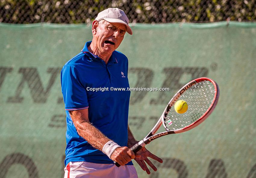 Hilversum, The Netherlands,  August 21, 2020,  Tulip Tennis Center, NKS, National Senior Tennis Championships, Men's single 70+,  Frank van Lerven (NED)<br /> Photo: Tennisimages/Henk Koster