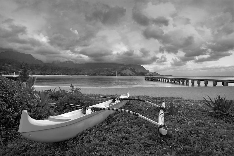 Canoe on Hanalei Bay at sunrise. Kauai, Hawaii