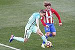 Atletico de Madrid's Antoine Griezmann (r) and FC Barcelona's Lucas Digne during La Liga match. February 26,2017. (ALTERPHOTOS/Acero)