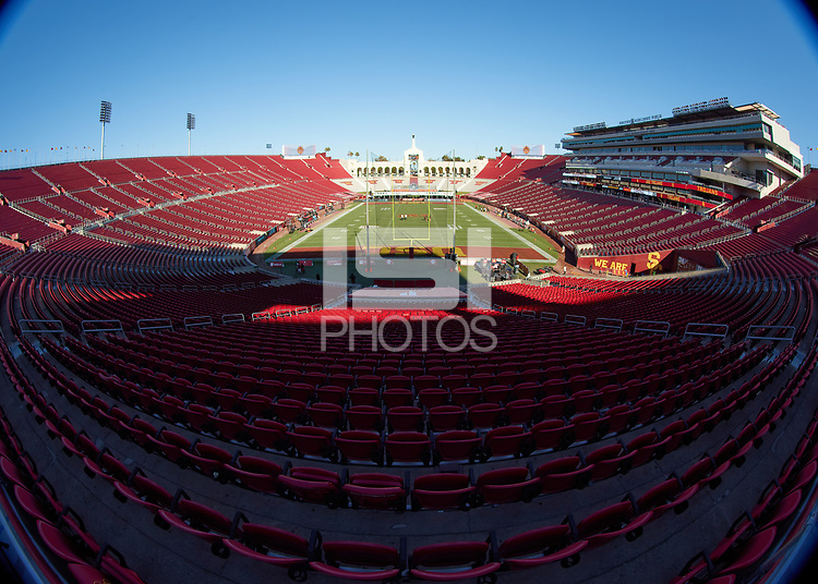 LOS ANGELES, CA - SEPTEMBER 11: Los Angeles Memorial Coliseum before a game between University of Southern California and Stanford Football at Los Angeles Memorial Coliseum on September 11, 2021 in Los Angeles, California.