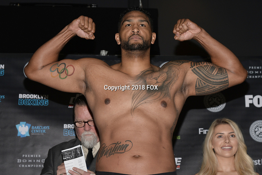 BROOKLYN, NY - DECEMBER 21: Boxer Dominic Breazeale attends the Premier Boxing Champions official weigh-in for the December 22 Fox PBC Fight Night at the Barclay Center on December 21, 2018 in Brooklyn, New York. (Photo by Anthony Behar/Fox Sports/PictureGroup)