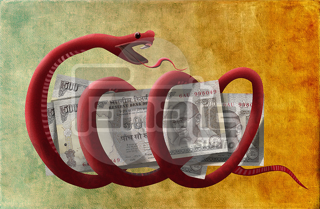 Conceptual illustration of money is the root of all evil