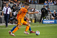 SAN JOSE, CA - JULY 24: Sam Junqua #29 of the Houston Dynamo dribbles the ball during a game between San Jose Earthquakes and Houston Dynamo at PayPal Park on July 24, 2021 in San Jose, California.
